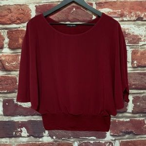 CHA CHA VENTE BURGUNDY PULLOVER WOMENS BLOUSE